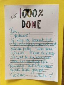 Kaartje van een tevreden, dankbare kantelklant - https://www.kantel.be/dit-vertellen-tevreden-kantelklanten/